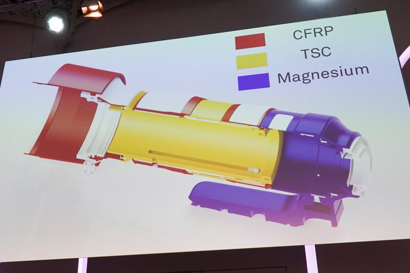 軽量なマグネシウム合金、アルミの3倍のコストだというCFRP(カーボンファイバーを含有するポリカーボネート)、TSC(アルミニウムと同等の熱収縮率を持つポリカーボネート)を使用。