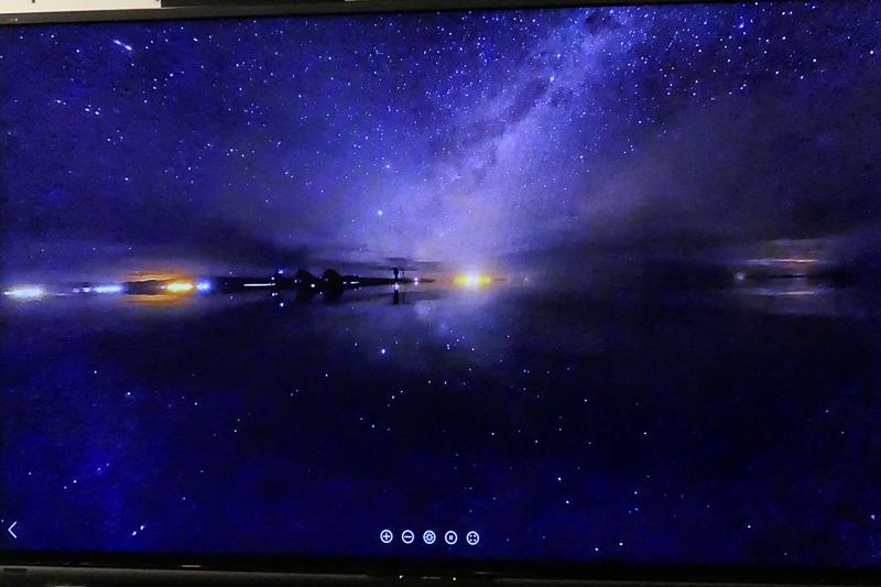 THETA Z1のISO 3200で撮影したウユニ塩湖の星空。中央が天の川。