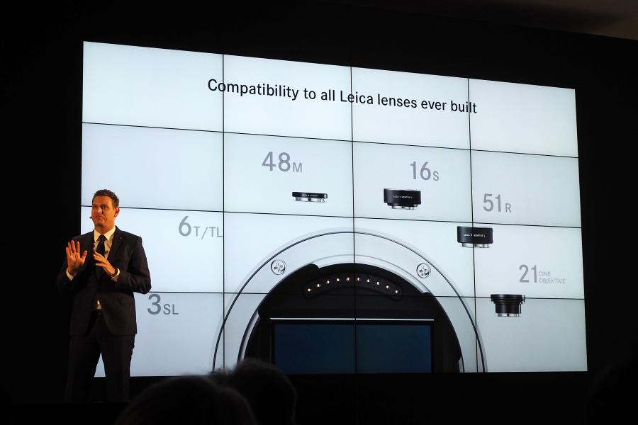 2015年の発表会では、ライカSLに使うことができるレンズの幅広さもプレゼンされた。すべてライカ純正に限っても合計で145本。当然ながら今はもっと多い。