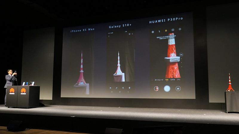 東京タワーの模型を撮影するデモを壇上で実施。