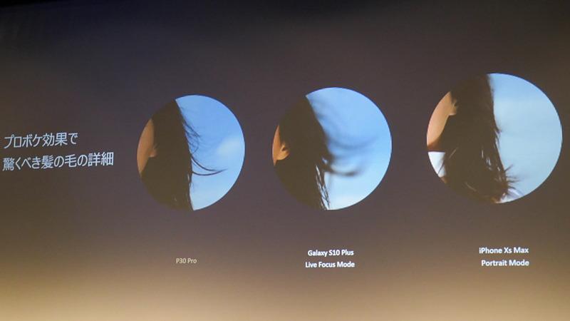 背景ボケを再現するモードで、髪の毛の輪郭検出が高精度になったとアピール。