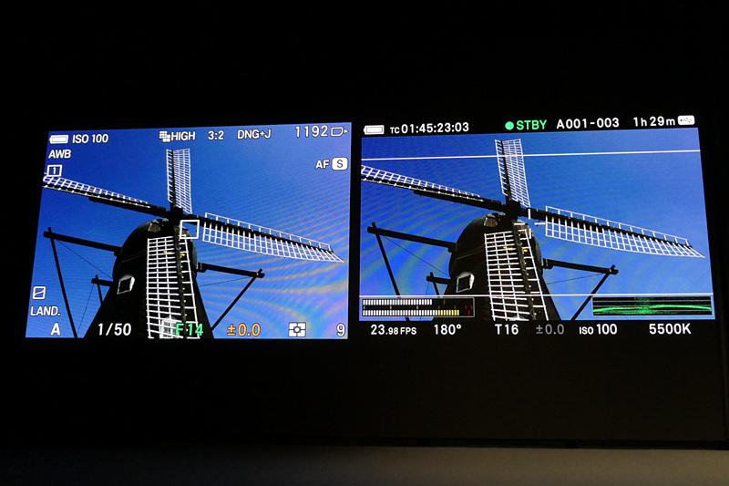 静止画(左)/動画(右)の撮影画面。本体上面のスライドスイッチで切り替わる。