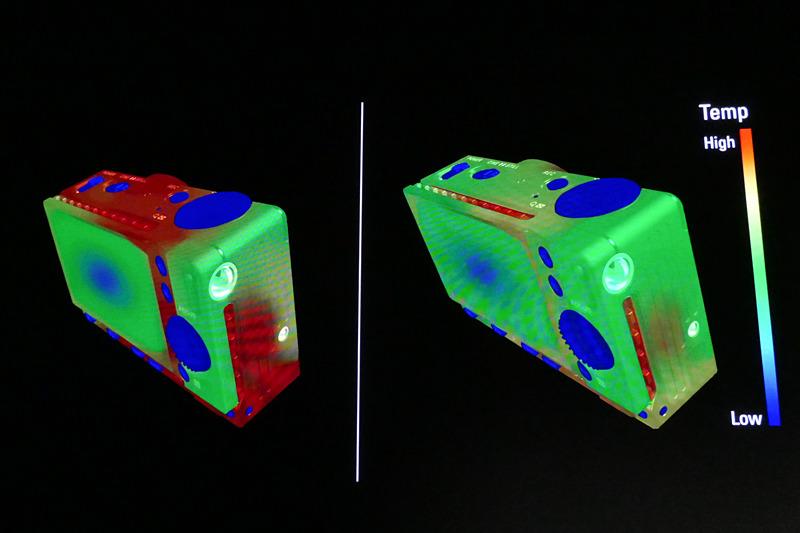 ヒートシンクがない場合(左)と、ある場合(右)の比較イメージ。筐体外装は前後カバーがアルミダイキャスト。ヒートシンク部分のみ、加工性からマグネシウムを採用しているという。