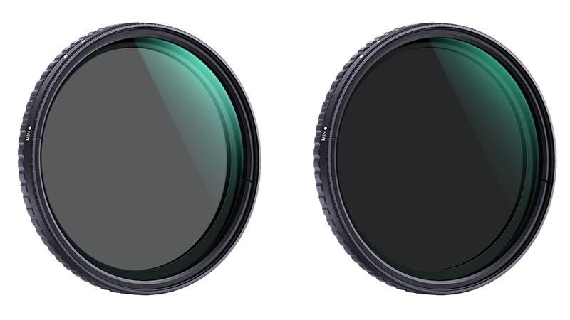 K&F Concept NANO-X バリアブルND フィルター。左から減光範囲ND2〜ND32、同ND8〜ND128。