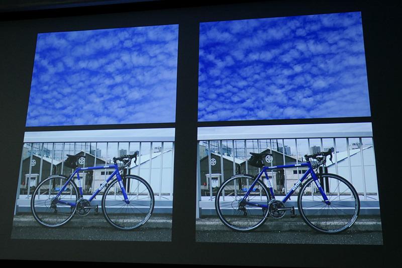 カラークロームエフェクト「ブルー」の作例。左がオフ、右がオン。