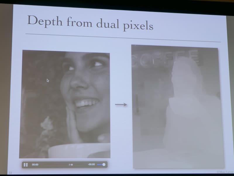デュアルピクセルによって得られた深度マップ。
