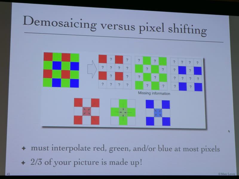 ベイヤー配列のセンサーでは1ピクセルに1色だけだが、これをピクセルシフトなどによって全色を1ピクセルに取り込めるようにする。