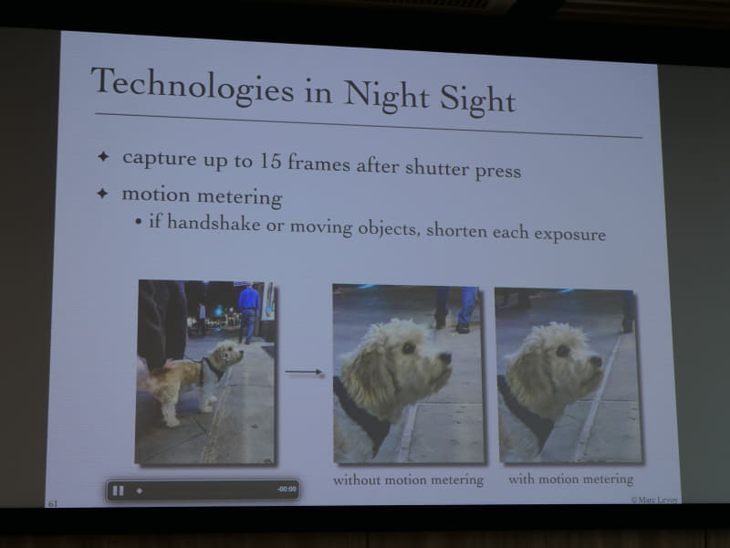 動く被写体があっても露光時間を変動させることで被写体ブレがなく夜景撮影が可能。