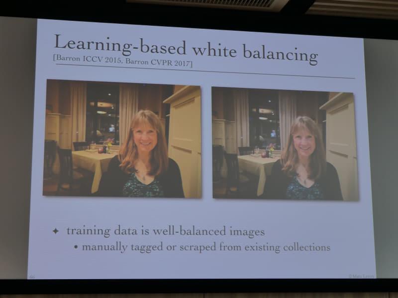 多くの正しいホワイトバランスの写真を学習させることで、よりホワイトバランスが正確に。