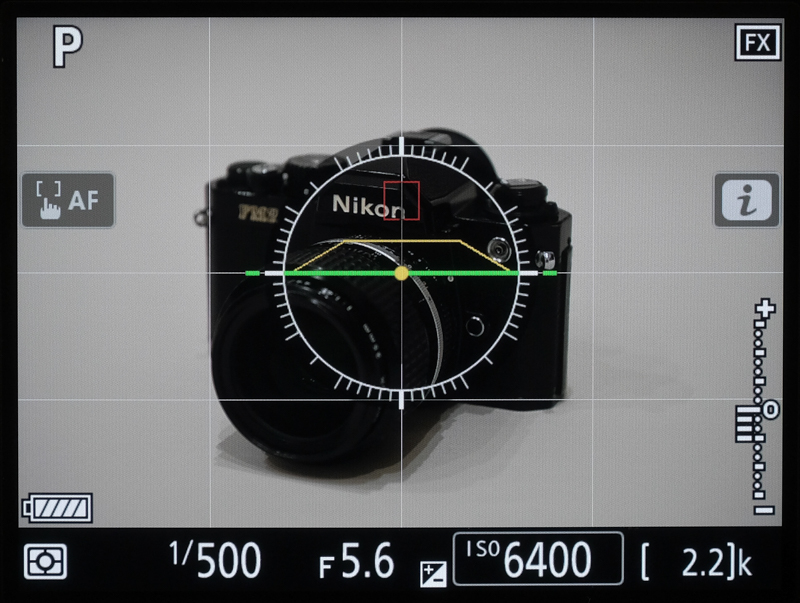 D780の水準器表示(LV画面)
