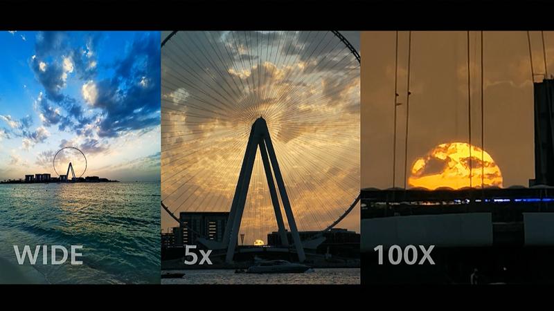 "P40 Pro+は広角23mmを基準に、超望遠240mmで光学10倍、デジタルズームを組み合わせて""100倍ズーム""とアピールする。"