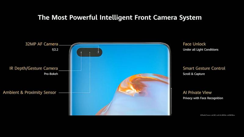 インカメラの構成。フレーム部分と繋がっていない「パンチホール」と呼ばれるタイプの配置になった。