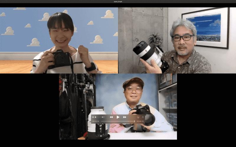 座談会はオンラインで行いました。上段左から時計回りに大村祐里子さん、宇佐見健さん、伊達淳一さん。