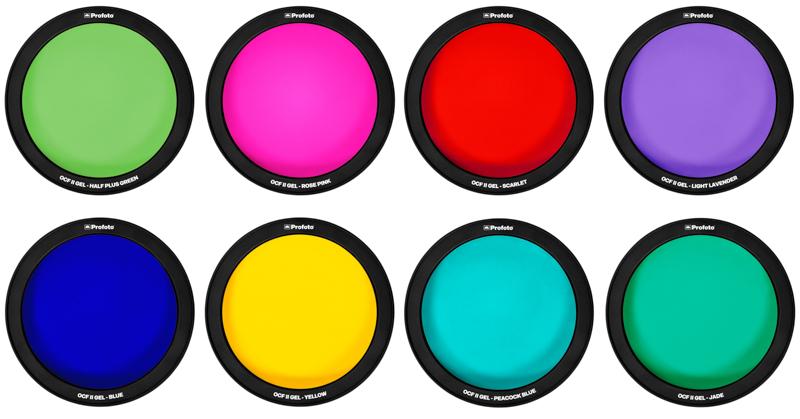 上段左からハーフプラスグリーン、ローズピンク、スカーレット、ライトラベンダー、下段左からブルー、イエロー、ピーコックブルー、ジェイド