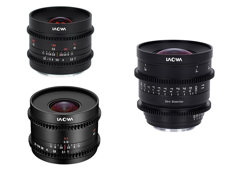 「9mm T2.9 Zero-D Cine」(左上)、「7.5mm T2.1 Cine」(左下)、「15mm T2.1 Zero-D Cine」(右)