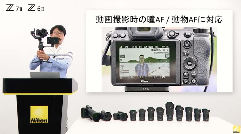 作例の撮影で使用した機材セットを披露する上田さん。ジンバルと外部レコーダーを使用している