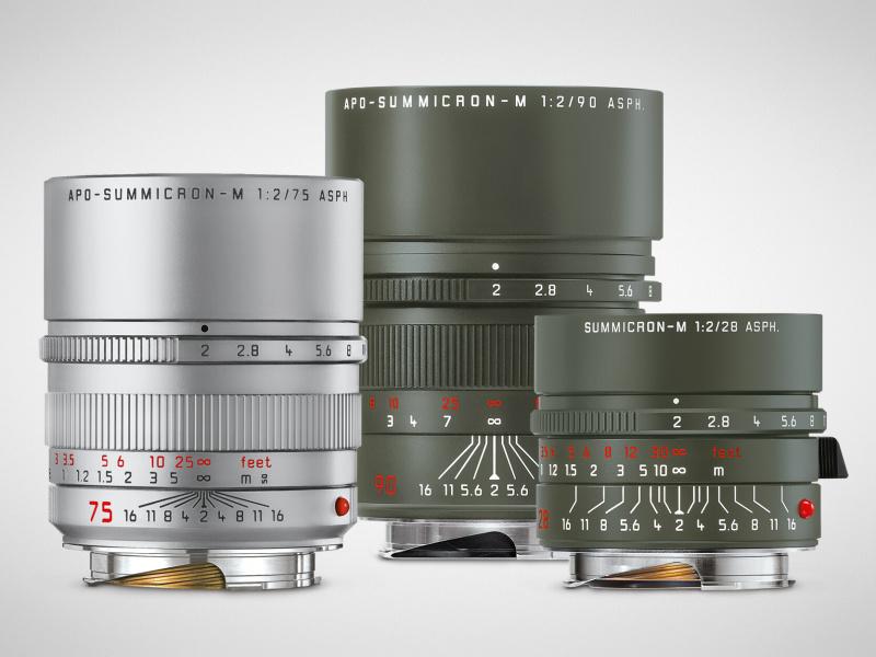 左のアポ・ズミクロンM f2/75mm ASPH.(シルバーアルマイト)は、レギュラー製品に加わる新色。中央のズミクロンM f2/28mm ASPH. サファリと右のアポ・ズミクロンM f2/90mm ASPH. サファリは、どちらも限定生産。
