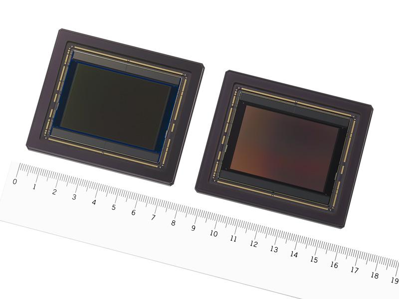 CMOSイメージセンサー「IMX661」(左:カラー品、右:白黒品)