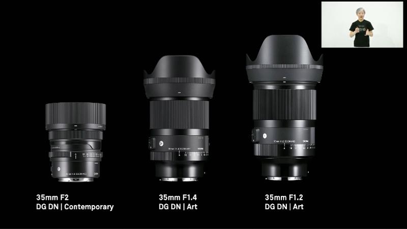 同社のフルサイズミラーレス用35mmレンズは、F1.2、F1.4、F2の3種類から選べるようになった