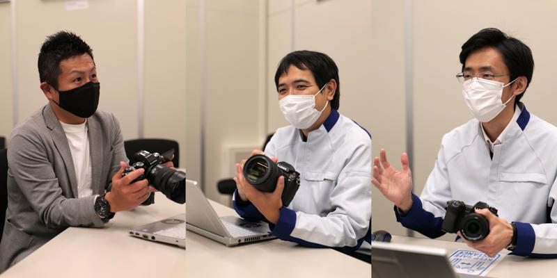 左から角和憲氏(商品企画担当)、岡本晃宏氏(商品設計担当)、栃尾貴之氏(商品設計担当)