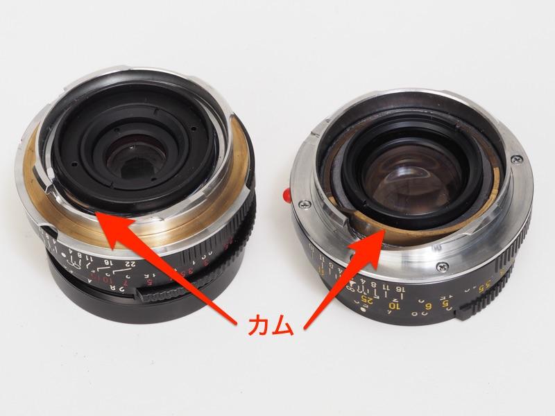 ゾナー40mm F2.8(左。L-Mリング付き)とMロッコール40mm F2(右)のカムを見比べました。Mロッコールはカムの距離計コロに当たる面が思い切り傾斜していることがわかると思います。