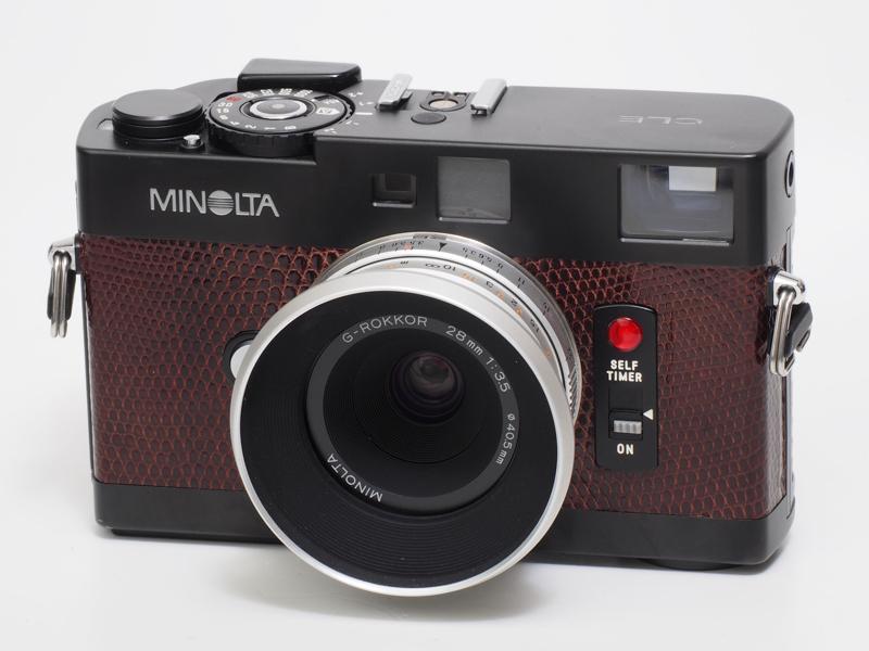 ミノルタTC-1に搭載された高性能のGロッコール28mm F3.5を単体レンズとして組み上げたもので、カラーはシルバーのみです。L-Mリングを介して装着しました。TC-1が修理できなくなっても、このレンズさえあれば、写りはずっと楽しめるわけです。