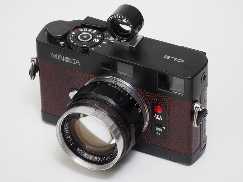 """ミノルタのカメラなので""""ロッコール""""以外を装着したくないアナタにはスーパーロッコール5cm F1.8はいかがでしょう。これもL-Mリングを介しています。50mmフレームを内蔵していないので、外付けファインダーを装着しました。あまり紹介したくないのですが、ものすっごくよく写ります。早く忘れましょう。"""