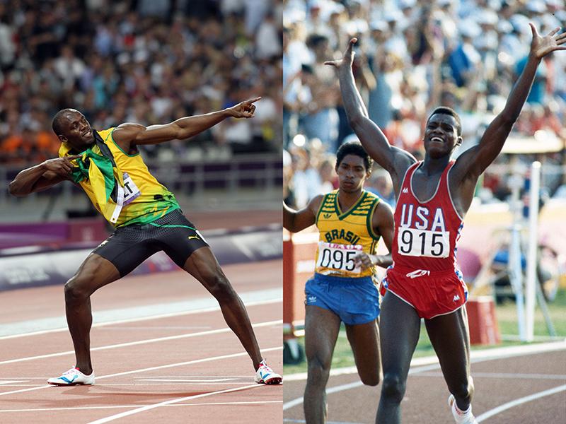 左:ウサイン・ボルト(JAM)/ロンドン(2012)<br>200mで勝利した後、お馴染みの「ライトニング(稲妻)ポーズ」を見せるウサイン・ボルト。北京、ロンドン、リオの3大会で100mと200mで個人種目3連覇を果たした。北京五輪の4×100mリレーでチームメートがドーピングによる失格で金メダルが剥奪されることがなければ3種目で3連覇だったのだが……(写真・アーサー・ティル)<br><br>右:カール・ルイス(USA)/ロサンゼルス(1984)<br>カール・ルイスの疾走は、アメリカを熱狂させた。100m、200m、4×100mリレー、走り幅跳びで4個の金メダルを獲得して、一躍スパースターとなった。これは1936年のジェシー・オーエンスに並ぶ快挙だった。ソウル五輪100mの金メダル獲得は、ドーピングによるベン・ジョンソンの失格によるものだった(写真・アーサー・ティル)