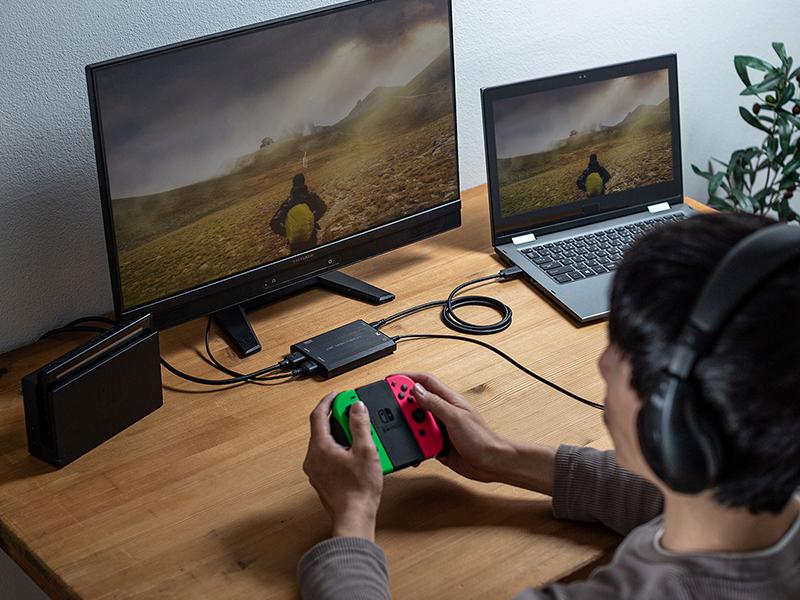 対応するゲーム機器と接続して、ゲームのプレイ画面を取り込むことも可能