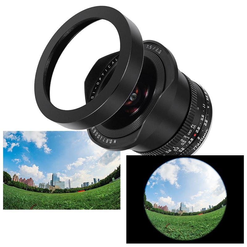 付属のアクセサリーを装着すると、フルサイズカメラと組み合わせた際に円周魚眼レンズとして使用できる