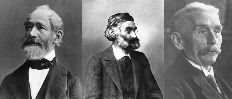 左から、カール・ツァイス(1816-1888)、エルンスト・アッベ(1840-1905)、オットー・ショット(1851-1935)