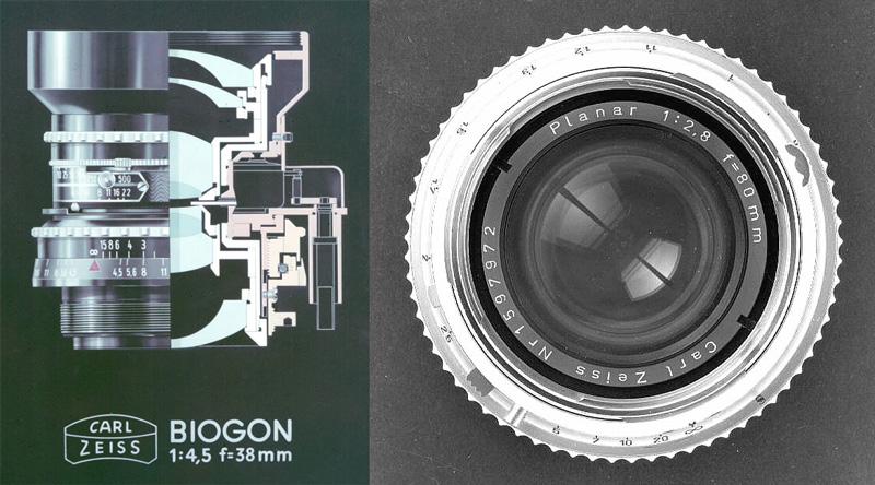 左は広角レンズ「ビオゴン」(Biogon)の一例。右はハッセルブラッドVシステムの標準レンズ「プラナー80mm F2.8」