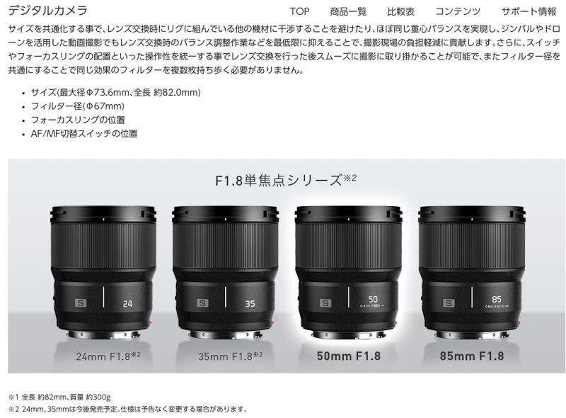 LUMIX S 50mm F1.8製品紹介Webページより