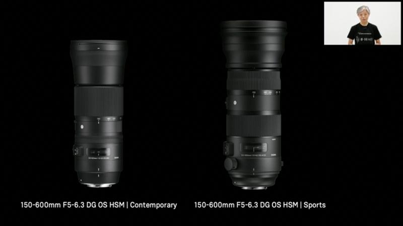 SIGMA 150-600mm F5-6.3 DG OS HSM|Contemporary(左)とSIGMA 150-600mm F5-6.3 DG OS HSM|Sports(右)。(「新製品プレゼンテーション 8月4日」YouTubeより。他同)