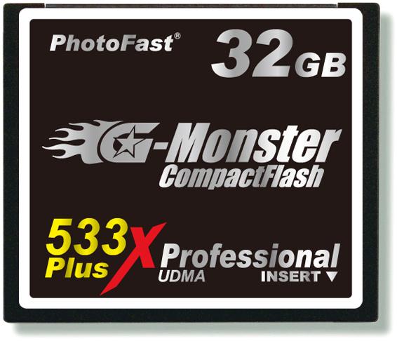 <b>フォトファーストのCF「GM-533CF32SL」。80MB/秒の転送速度を有する</b>