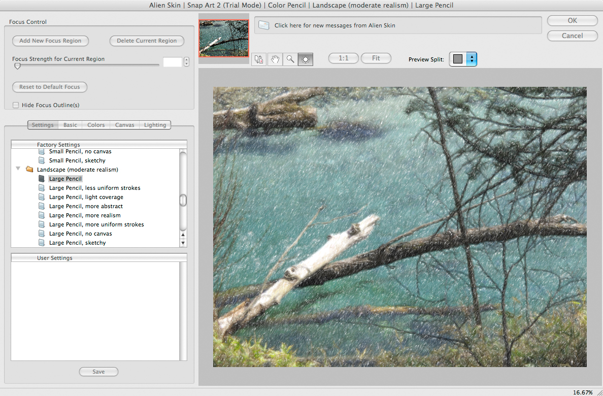 <b>Snap Art2で、LandscapeのLarge Pencilプリセットを適用したところ</b>