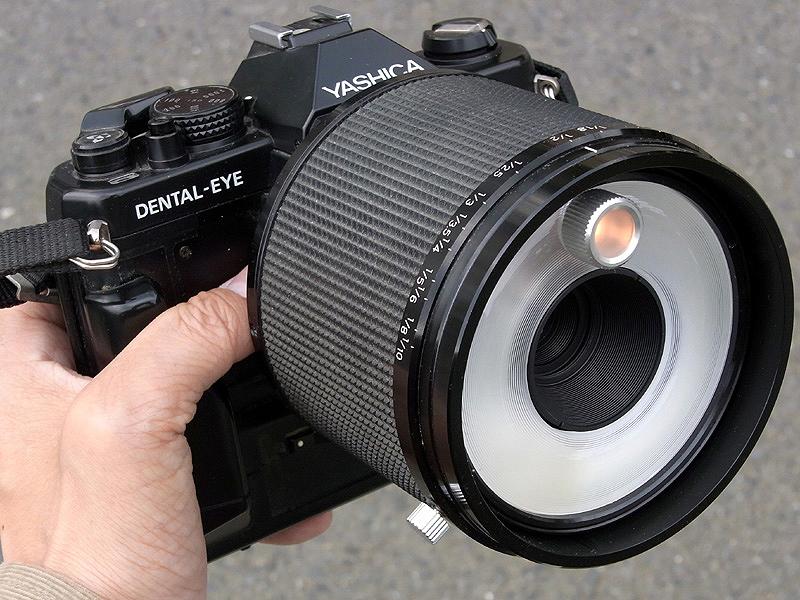 <b>YASHICA DENTAL-EYEのレンズは一見レフレックス500mmのようにも見えるが、実はこの太い鏡筒の中に50mm F3.5マクロレンズと、リングストロボが内蔵されている。オレンジ色に光っているのは、ピント合わせ用のモデリングランプ。歯科医のために開発されたフィルム一眼レフだが、昆虫撮影用にも十分使える性能を持つ</b>