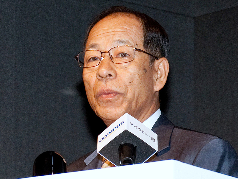 <b>オリンパス代表取締役社長の菊川剛氏</b>