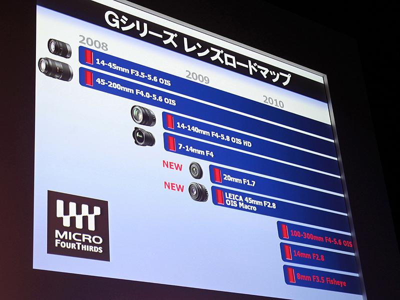 <strong>レンズロードマップ。2010年発売予定の新レンズ3本が加わった。</strong>