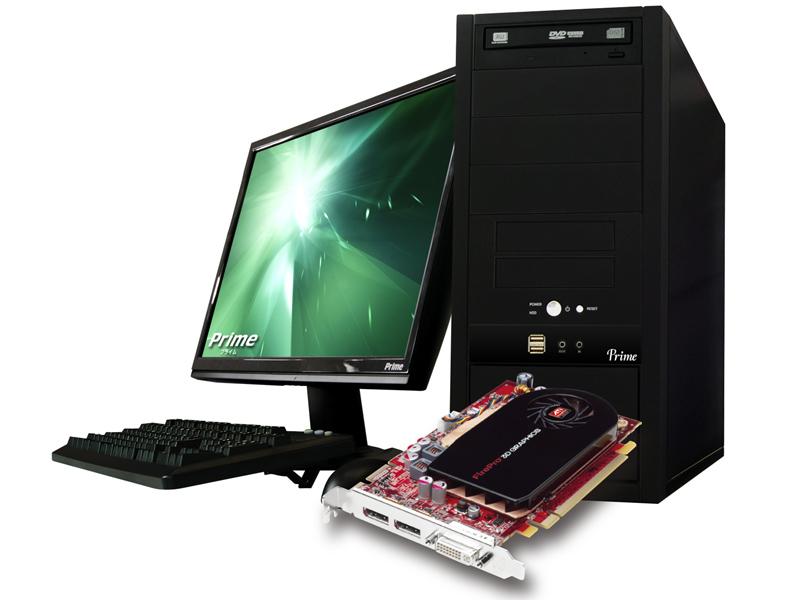 <b>Prime Raytrek LCiと、搭載するビデオカードATI FirePro V5700(ディスプレイは別売り)</b>
