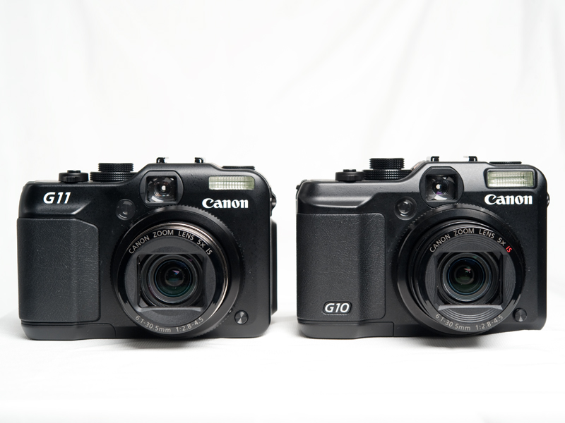 <b>G11のボディサイズは幅112.1×高さ76.2×奥行き48.3mmで、重さは335g。これに対し、前モデルとなるG10は、幅109.1×高さ77.7×奥行き45.9mmで、350g。高さを除けば、わずかにボディサイズは大きくなっており、重さは軽くなっている</b>
