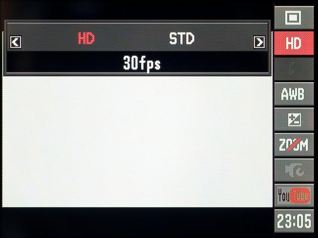 <b>通常動画の記録画素数の設定。「HD」は1280×720ピクセル、「STD」は640×480ピクセル。いずれも30fpsの音声付き</b>