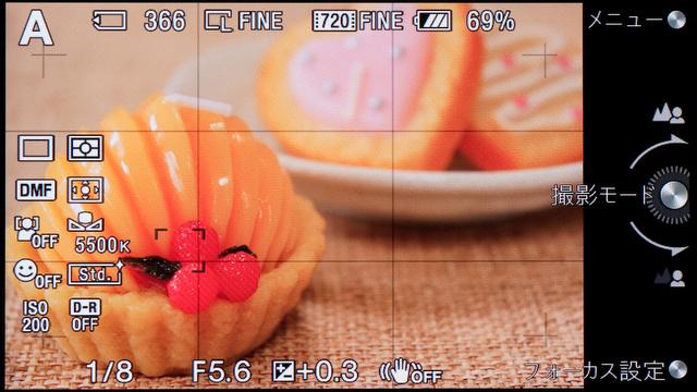 <b>撮影情報表示モードは3種類あるが、結局いちばん情報量の少ないタイプのが使いやすい感じ</b>