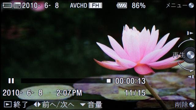 <b>動画再生時の画面。ワイド画像をフル表示する設定にしておくと、3型液晶モニターいっぱいに表示する</b>