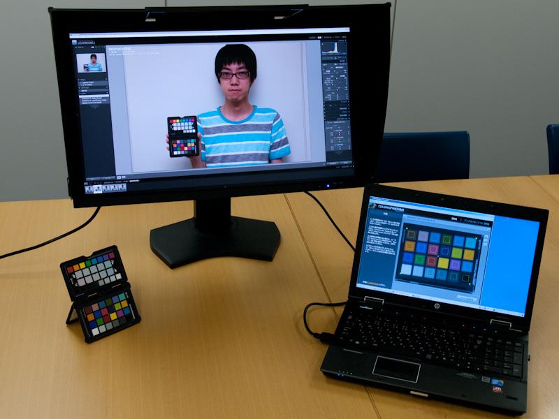<b>日本HPのEliteBook 8540wと、カラーマネジメント対応のNEC「MultiSync LCD-PA271W」(ブラック)をDisplayportで接続し、MultiSync LCD-PA271W側で画像調整を行なった</b>
