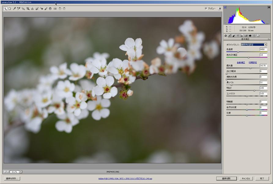 <b>Camera RAW(画像はバージョン5.3)</b>