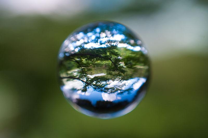 <b>池に映り込む木々や空。ニコンD5000+AF-S Nikkor 18-55mm F3.5-5.6 G+ケンコーMCクローズアップレンズNo.10+アクリル製宙玉レンズ</b>