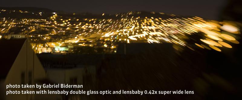 <b>レンズベビー0.42x スーパーワイドレンズとダブルグラスオプティックの併用例</b>