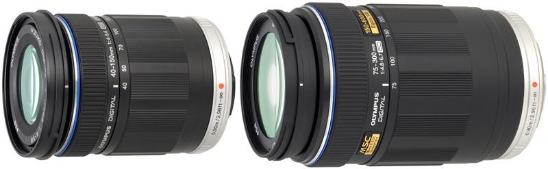 <b>M.ZUIKO DIGITAL ED 40-150mm F4-5.6(左)とM.ZUIKO DIGITAL ED 75-300mm F4.8-6.7(右)</b>