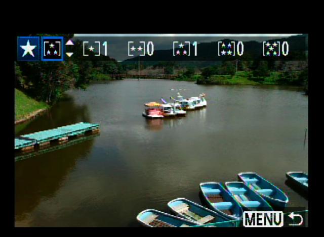 <b>レーティングがカメラで行なえるようになった。格付けは5段階で、EOS 60Dに付属する画像ソフトZoom Browser EXもしくはImage Browserに反映される</b>